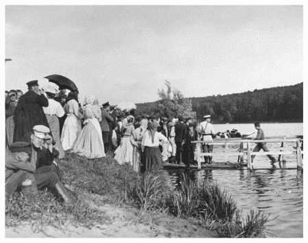 Russian peasants waiting for a ferry, circa 1905