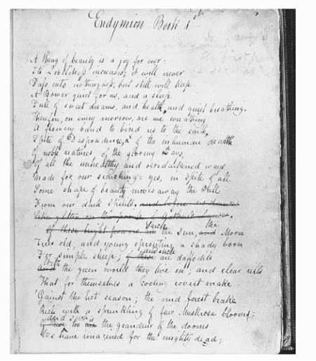 Draft page from Endymion by John Keats