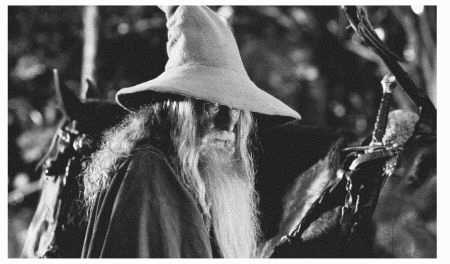 Ian McKellen plays Gandalf in the 2001 film adaptation of The Lord of the Rings: The Fellowship of the Ring by J. R. R. Tolkien
