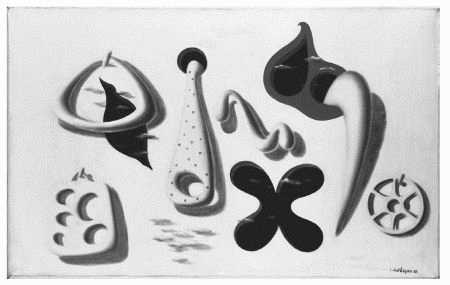 Haze Holes in White, surrealistic painting by Herbert Bayer, 1936