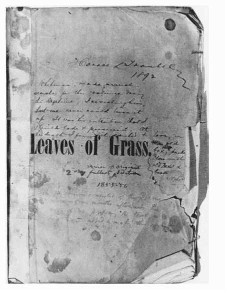 Cover of American poet Walt Whitmans own copy of the first edition of his 1855 collection Leaves of Grass