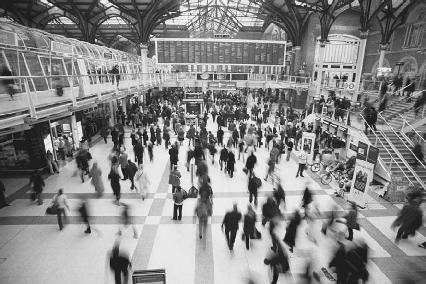 A crowded station in the London Metro