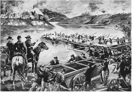 Illustration of the battle at Fredericksburg, Virginia
