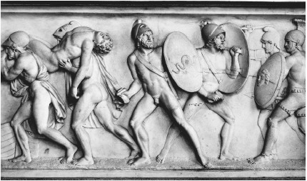 Relief sculpture by Berthel Thorvaldsen showing the death of Patroclus, a scene from the Iliad