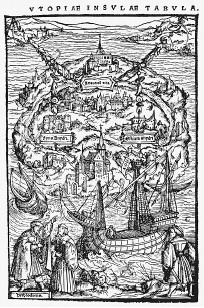 Woodcut image by Ambrosius Holbein from Utopia by Sir Thomas More