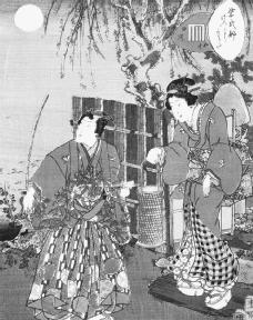 An illustration from Lady Murasakis novel, the Tale of Genji. In her diary, Lady Sarashina admits to being heavily influenced by Lady Murasaki. Reproduced by permission of the Corbis Corporation.