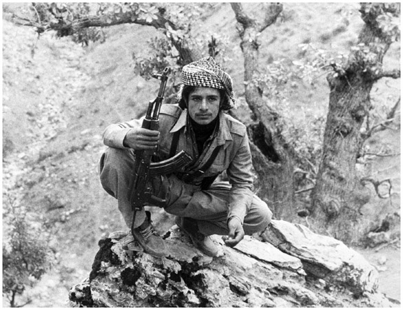 A young Kurdish fighter in Iraq, near the Iraq-Iran border. In the mid1970s the Kurds began attacking Iraqi targets in an attempt to gain self-rule.