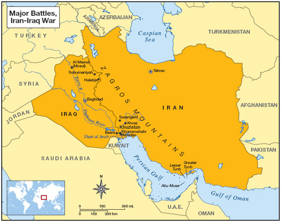 A map showing the cities where major battles occurred during the Iran-Iraq War.