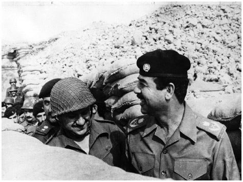 Saddam Hussein inspecting the Basra front. In 1986 Iran sent waves of soldiers into the Iraqi port of Basra.