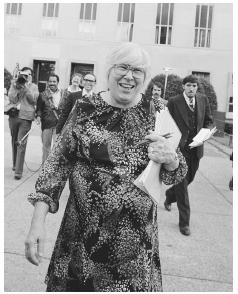Noted American atheist Madalyn Murray OHair leaves court after urging a federal judge to block Pope John Paul II from celebrating Mass on Washingtons Mall, arguing it would violate constitutional guarantees separating church and state, Washingt