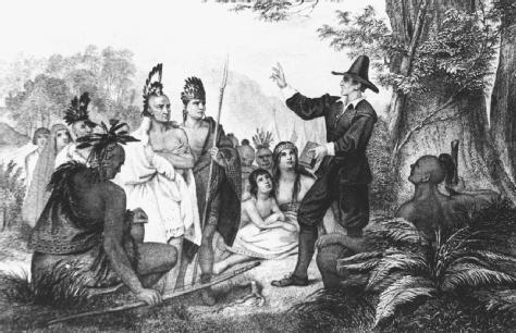 John Eliot preaching to Native Americans in Massachusetts, drawing by J.A. Oertel, 1856.