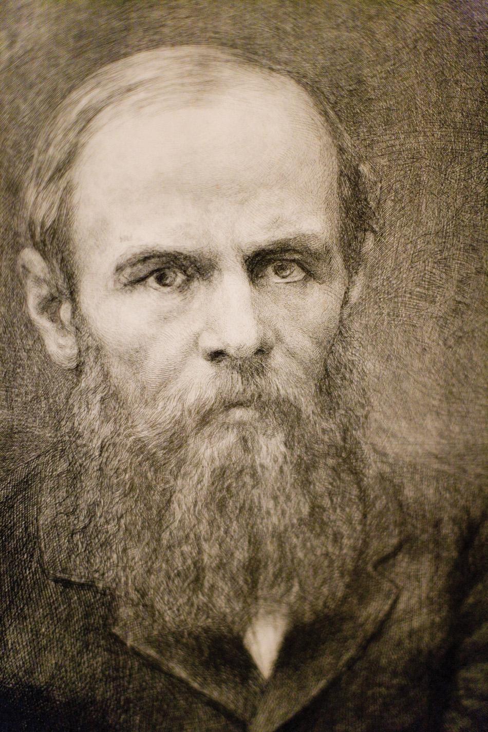 Portrait of Russian novelist Fyodor Dostoevsky.