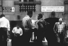 Segregated bathrooms in Johannesburg, South Africa, 1984. When the National Party came to power in 1948, many laws were passed to segregate the population, one of which banned blacks and Indians from using the same public facilities as whites.