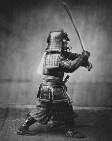 Samurai warrior, photographed c. 1860 by Felice Beato. Bushido, the samurai code of ethics, was formalized in writing in the sixteenth century and adhered to for some three hundred years. Bushido placed emphasis on certain chivalrous virtues su