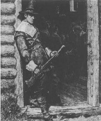 A 1882 woodcut, At the Church Door, showing a Puritan Thanksgiving in the seventeenth century.