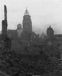 Dresden, Germany, after the Allied bombing attack during World War II. As a prisoner of war, Kurt Vonnegut witnessed the firebombing of the city.