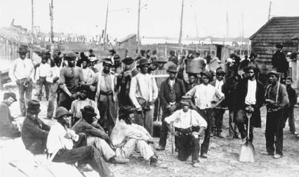 After the Civil War, southern agricultural crops were not doing well, and many African-Americans, like the freed slaves pictured here, were out of work. Large numbers of African-Americans left the South for jobs in growing northern industries.