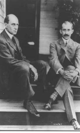 First in flight: Wilbur and Orville Wright made history in 1903 by launching the first engine-propelled airplane at Kitty Hawk, North Carolina.
