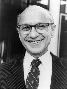 Economist Milton Friedman championed the free market economy and was awarded the Nobel Prize in Economics in 1976 for his contribution to understanding monetary policy.