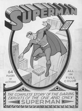 Superman, a superhero dreamed up by two teenagers, is shown on the cover of this 1939 comic book in costume. His alter ego, Clark Kent, wore glasses and a business suit but could change into Superman in a phone booth.