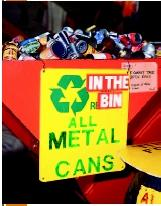 Aluminum cans in recycling bin at Portsmouth Recycling Center. (©Ian Harwood; Ecoscene/CORBIS. Reproduced by permission.)