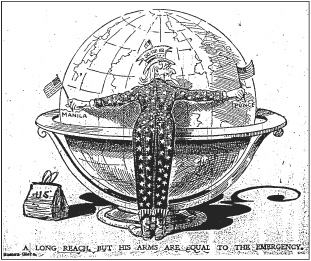 A Long Reach, But His Arms Are Equal to the Emergency. Chicago Tribune, 2 August 1898, p. 3.