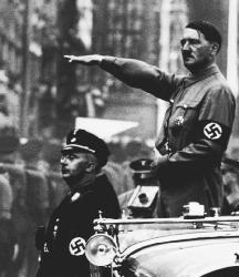 Adolf Hitler gives the Nazi salute. (United States Holocaust Memorial Museum)