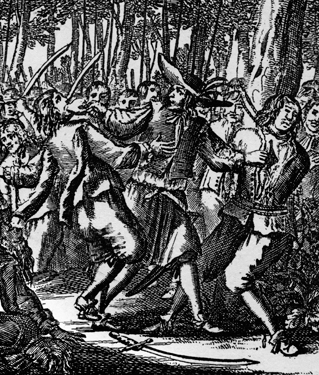 Franois LOlonnais was known for his cruelty. Here, after cutting out a mans heart during battle, he forces another man to eat it.