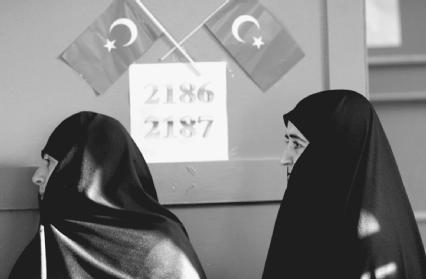 Women in Turkey are the most liberated in the Muslim world. Here, two Turkish women in Istanbul are about to exercise their right to vote in a national election.