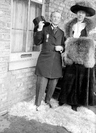 Dr. Mary Walker is pictured here, probably in Chicago, Illinois, with Miss Dorothy Hunt. Walker is one of many American women who have dressed in male attire, often as statements of female liberation.