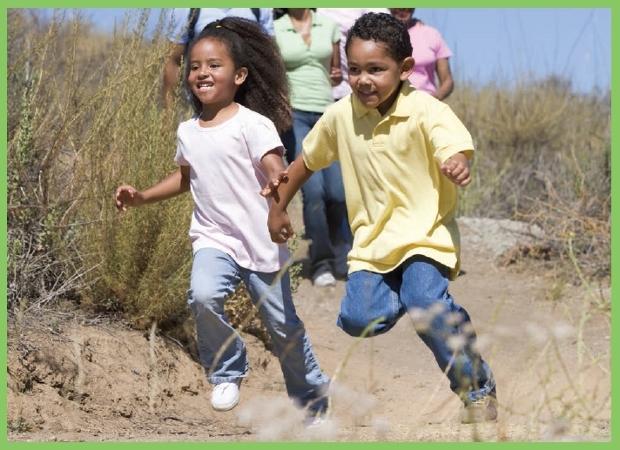 Children hop, run, and crawl.