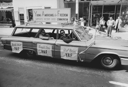 The Young Americans for Freedom participate in the Loyalty Day Parade in Philadelphia, Pennsylvania, June 1966. The parade is to show loyalty to the U.S. in spite of the growing number of anti-Vietnam War protests.  Leif Skoogfors/Corbis.