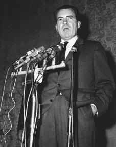 Richard Nixon addresses the media in California. AP/Wide World Photos. Reproduced by permission.