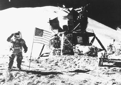 A U.S. astronaut on the surface of the Moon salutes the American flag. (NASA)