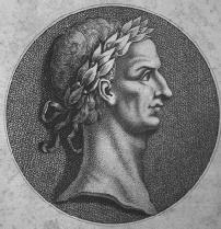 Engraving of the bust of Julius Caesar
