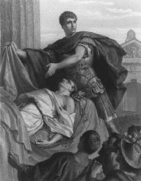 Mark Antony with the body of Caesar and Roman citizens, Act III, scene ii