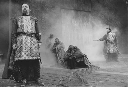 Peter Lindford as Macbeth, Gerald Logan as Banquo and the witches in Act I, scene iii, at the Ludlow Festival, 2001