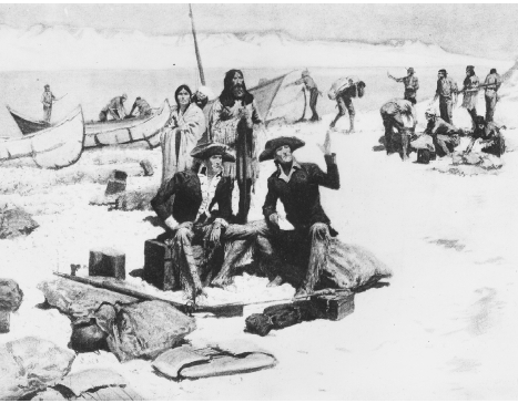 American explorers Meriwether Lewis and William Clark rest near the Columbia River during their exploration of the Louisiana Territory. (Painting by Frederic Remington.  Hulton ArchiveGetty Images.)