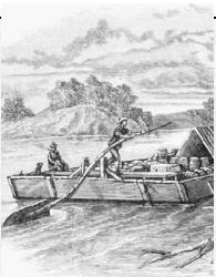 A flatboat floats down the Mississippi River. ( BettmannCorbis.)