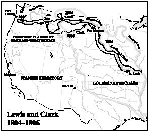 A map showing the route of the Lewis and Clark expedition. ( Thomson Gale.)