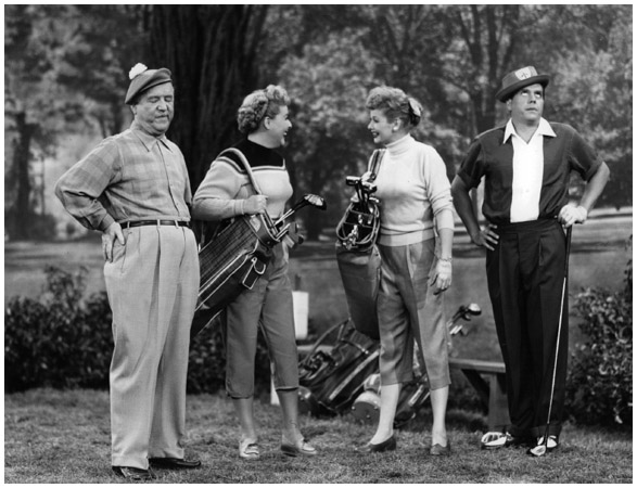 I Love Lucy. Left to right, William Frawley, Vivian Vance, Lucille Ball, and Desi Arnaz play golf in an episode of I Love Lucy in 1951.