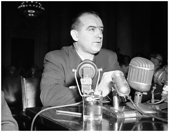 McCarthy Testifies. Wisconsin senator Joseph R. McCarthy appears before a Senate foreign relations subcommittee on March 8, 1950, in Washington, D.C., to testify about his allegations that communists had infiltrated the State Department.
