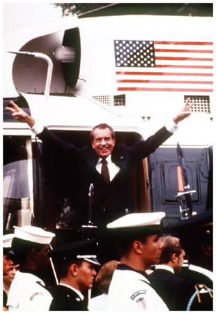 Nixon Leaves the White House. Richard Nixon boards the presidential helicopter as he leaves the White House for the last time after his August 9, 1974, resignation speech in the wake of the Watergate scandal.