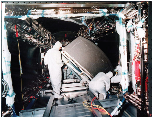 The aerospace industry is one of the largest employers in the United States. Here, Boeing technicians install the first of 24 system racks into the U.S. laboratory module for the International Space Station at the NASA Marshall Space Flight Cen