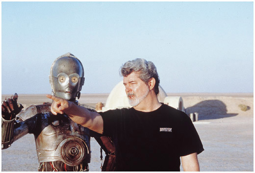 George Lucas, the creator of Star Wars saga, on the set of the second episode: Attack of the Clones.