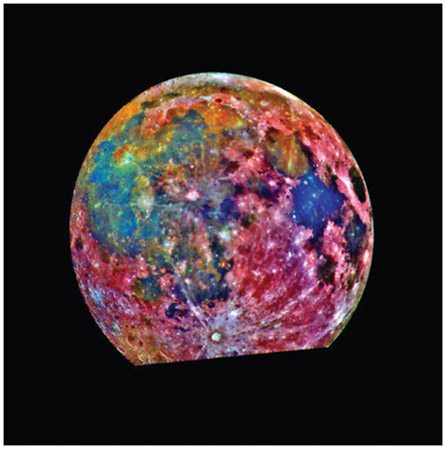 This is a false-color composite image of the Moon, photographed through three color filters by the Galileo spacecraft. The colors aid in the interpretation of the satellites surface soil composition: red areas typically correspond