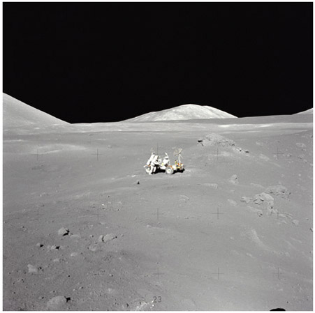 Astronaut and geologist Harrison H. Schmitt working at the Taurus-Littrow landing site, where he first spotted orange soil. The lunar surface is covered everywhere with a thin fragmental layer (regolith) that consists