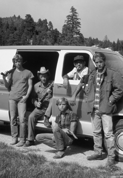 Scene from the 1983 US TV movie A Killer in the Family, with Eric Stoltz, Robert Mitchum, Stuart Margolin, James Spader, and Lance Kerwin. This movie depicts highway-related murders similar to those those mentioned in Flannery OConnors A Good Man Is Hard To Find