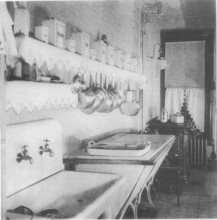 A kitchen from a turn-of-the-century farmhouse. All cooking and baking was done from scratch, and homemakers had to contend with such limitations as small ovens and rudimentary iceboxes.