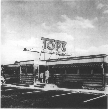 Tops Roadside Diner, 1952, an example of one of the many diners that sprang up alongside American highways in the years after World War II.